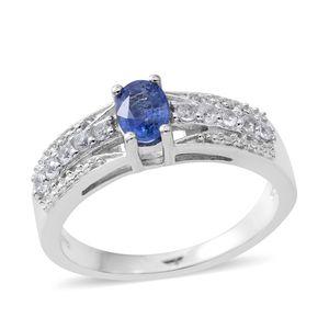 Ceylon Blue Sapphire, Cambodian White Zircon Platinum Over Sterling Silver Ring (Size 7.0) TGW 0.87 cts.