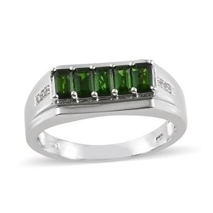Russian Diopside, Cambodian Zircon Platinum Over Sterling Silver Men's Ring (Size 12.0) TGW 1.90 cts.