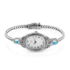 EON 1962 Arizona Sleeping Beauty Turquoise Swiss Movement Water Resistant Ladies Bracelet Watch in Sterling Silver TGW 0.86 cts.