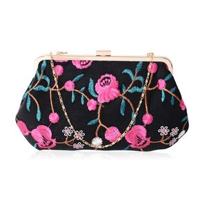 b106edd3cc Black and Pink Polyester Vivid Embroidered Flower Pattern Metal Frame  Evening Clutch Bag (11x7 in