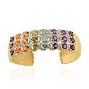 Multi Gemstone, Diamond 14K YG Over Sterling Silver Cuff (6.50 in) TDiaWt 0.02 cts, TGW 12.670 cts.