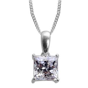 J Francis - Platinum Over Sterling Silver Solitaire Pendant With Chain Made with SWAROVSKI ZIRCONIA (20 in) TGW 2.40 cts.