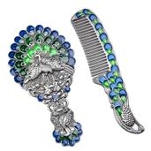 Navy Blue and Green Enameled, Chroma Peacock Mirror and Comb Set in Dark Silvertone