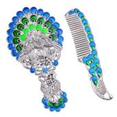 Blue and Green Enameled, Chroma Silvertone Peacock Mirror and Comb Set
