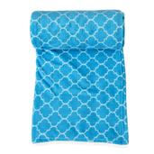 Blue Microfiber Plush Flannel Quatrefoil Print Throw (78x59 In)