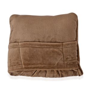 Two-in-One 100% Microfiber Taupe Travel Pillow and Blanket