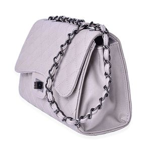 Gray Faux Leather Quilted Pattern Crossbody Bag with Adjustable Strap (9.5x3.5x6.5 in)