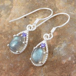 3856e3ffd Malagasy Labradorite, Simulated Purple Diamond Sterling Silver Earrings TGW  3.18 cts.