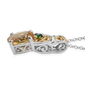 Brazilian Citrine, Russian Diopside 14K YG and Platinum Over Sterling Silver Ring (Size 5) and Pendant With Chain (20 in) TGW 2.60 cts.